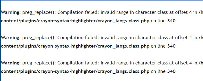 PHP 7.3 にバージョンアップ後 Crayon Syntax Highlighter プラグインで Warning: preg_replace(): Compilation failed エラーが表示される場合の対処法